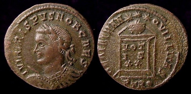33 Crispus, Caesar, 317-326 A.D.  Æ 3 Follis, 322-23 A.D.    Mint of Trier  19mm, 2.51gm, axis: 1:00  Obv: IVL CRISPVS NOB CAES. Laureate cuirassed bust left holding spear and shield.  Rx: BEATA TRANQVILLITAS. Altar inscribed: VOT / IS / XX surmounted by globe, 3 stars above; in ex: .PTR..     RIC VII 372, Cf. SR 3915, VM 7.