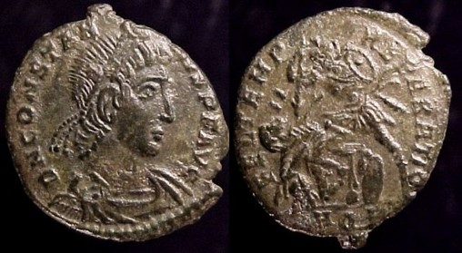 43 - Constantius II, 337-361 A.D.  Æ 3, 352-5 A.D.    Mint of Aquilea  17mm, 2.68gm, axis: 1:00  Obv: DN CONSTANTIVS PF AVG. Diademed draped and cuirassed bust right.  Rx: FEL TEMP REPARATIO. Soldier advancing left, spearing fallen horseman; in ex: AQP.  RIC VIII 199, LRBC 930, Cf. SR 4010, VM 100.