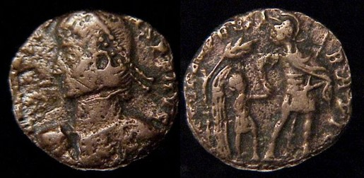 "Contemporary Copy of:  Constans, 337-350 AD.   ""Æ 2"" /  Billon Majorina  19mm, 3.14gm, axis: 180º / 6h  Mint of Heraclea, 348-50 AD.  Obv: D N CONSTANS P F AVG.  Diademed draped and cuirassed bust left holding globe.  Rx: FEL TEMP REPARATIO.   Soldier walking right holding spear downward between legs, leading youth from hut beneath tree; in ex, [SMHA(*?)]   Prototype: RIC VIII 71 or 78; LRBC 1884; Cf. SR 3976; VM 49."