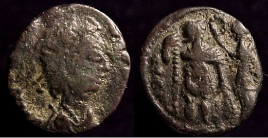 09 - Vandals in North Africa (? source was a mixed lot 'from Egypt')  Contemporary Æ 4 copy of  Honorius, 393-423 A.D.  14mm, 1.41gm, axis: 6:00  Prototype:  Obv: DN HONORIVS PF AVG. Diademed  draped and cuirassed bust right.  Rx: VIRTVS EXERCITI. Victory crowning emperor  Cf. SR 4256, VM 44.  From a hoard found in Egypt