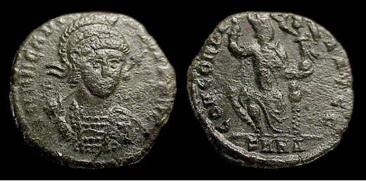 Arcadius, 383-408 AD.  'Æ 3'/ Billon Restored Centenionalis  17mm, 2.01gm, axis: 0º.  Mint of Nicomedia, 401-3 AD.  Obv: DN ARCADIVS PF AVG. Helmeted cuirassed bust facing; spear over shoulder.  Rx: CONCORDIA AVGG. Constantinopolis seated facing, head right, holding scepter and Victory, right foot on prow in ex: SMNA.  RIC X 91, LRBC 2442, SR --, VM 27.
